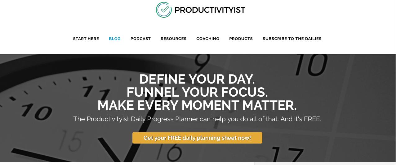 a screenshot productivityist