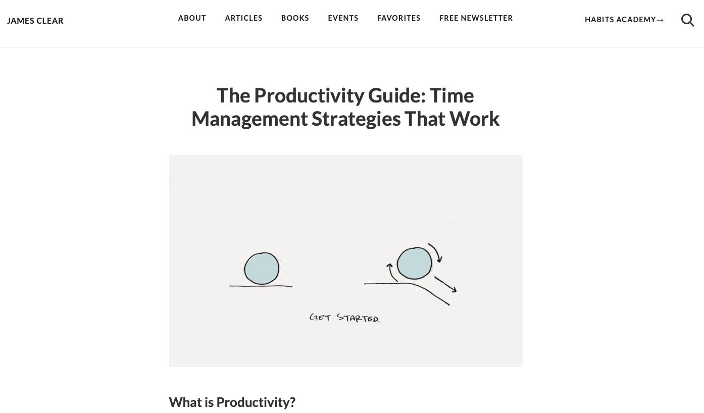 a screenshot of james clear blog