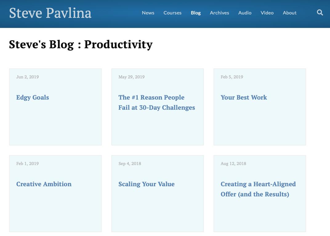 a screenshot of steve pavlina blog