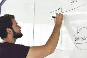 productivity man writing on a board