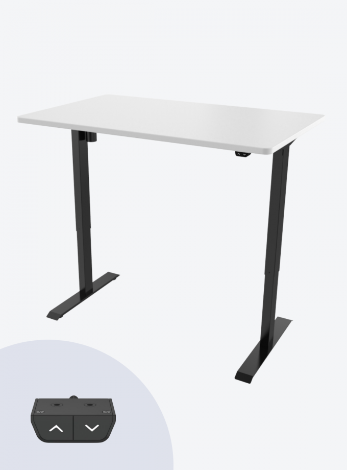 Fitnest Sierra Starter Version Electric Standing Desk White Top Black Frame